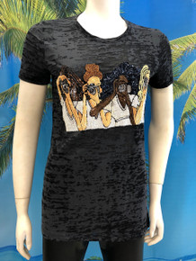 Flirt Exclusive Women with Cameras Beaded T-shirt Black