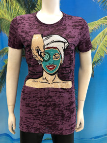 Flirt Exclusive Face Mask Beaded T-shirt Purple