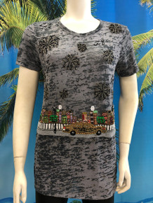 Flirt Exclusive Taxi in the City Beaded T-shirt Dark Gray