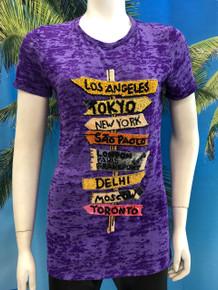 Flirt Exclusive City Banners Beaded T-shirt Dark Purple