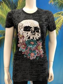 Flirt Exclusive Skull with Flowers Beaded T-shirt Black