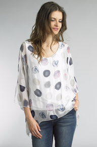 Tempo Paris Polca Dot Silk Top 1185L White