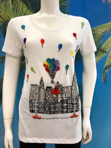 Flirt Exclusive Flying with Balloons Beaded T-shirt White