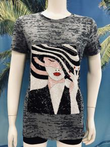 Flirt Exclusive Glamorous Hat Beaded T-shirt Gray
