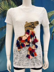 Flirt Exclusive Camel with Tassels Beaded T-shirt White
