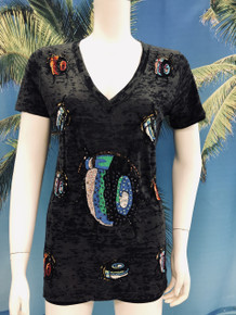 Flirt Exclusive Beetle Sequenced Beaded T-shirt Black