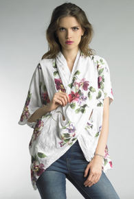 Tempo Paris Linen Print Top 9660L White