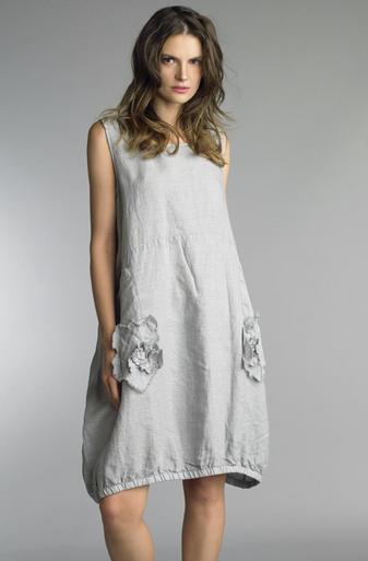 Tempo Paris Linen Rosette Dress 7052CC Silver