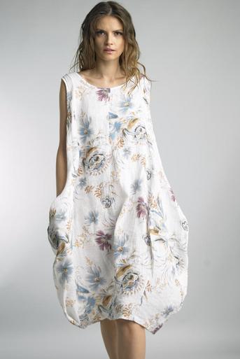 Tempo Paris Linen Printed Bubble Dress 70869H White