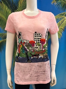Flirt Exclusive Girl Walking Dogs Beaded T-shirt Pink