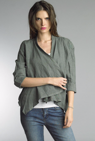 Tempo Paris Linen Jacket 192H Forest Green