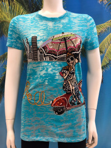 Flirt Exclusive Girl on Scooter Beaded T-shirt Turquoise