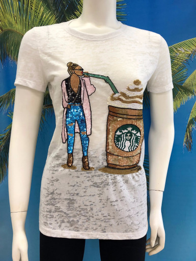 Flirt Exclusive Frappuccino Beaded T-shirt White