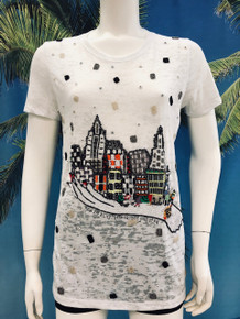 Flirt Exclusive City Palm of Hand Beaded T-shirt White