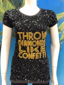 Flirt Exclusive Throw Diamonds Beaded Sequenced T-shirt Black
