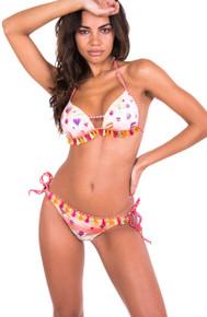 Pin-Up Stars Hot Air Balloons Push Up Triangle Bikini Set Beige