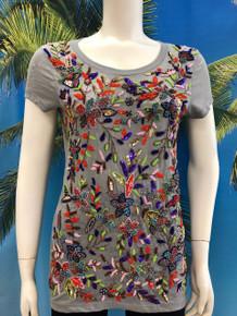 Flirt Exclusive Multi Color  Flowers T-shirt Grey