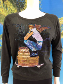 Flirt Exclusive Girl on Louis Suitcases Sweatshirt Black