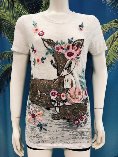 Flirt Exclusive Deers Beaded T-Shirt White