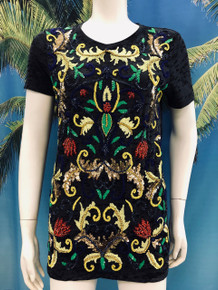 Flirt Exclusive Sequenced Shapes Beaded T-Shirt Black