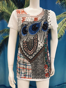 Flirt Exclusive Peacock Feathers Beaded T-Shirt White