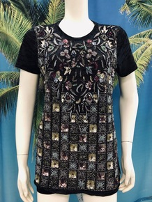 Flirt Exclusive Flowers and Squares Beaded T-Shirt Black