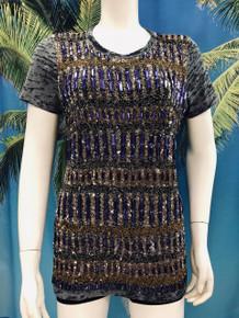 Flirt Exclusive Purple Rectangles Beaded T-Shirt Grey