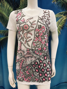 Flirt Exclusive Pink and Silver Beaded T-Shirt White