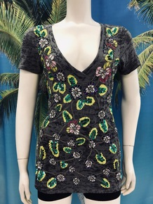 Flirt Exclusive Citron and Green V-Neck Beaded T-Shirt Grey
