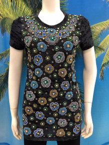 Flirt Exclusive Flowers All Over Beaded T-Shirt Black