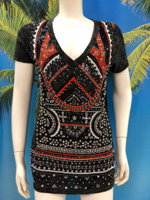 Flirt Exclusive Red and Black  Beaded T-Shirt Black