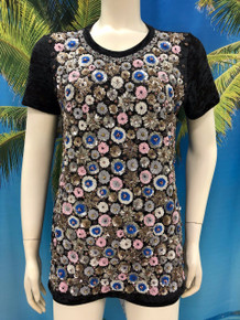 Flirt Exclusive Little Flowers Beaded T-Shirt Black