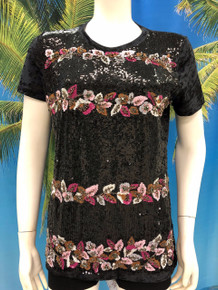 Flirt Exclusive Sequenced Leaves T-Shirt Black