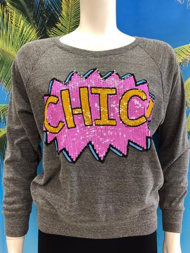 Flirt Exclusive Chic Sequenced Sweatshirt Grey