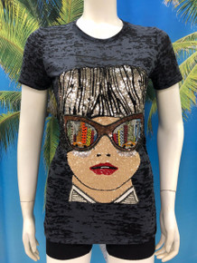 Flirt Exclusive Glasses Reflection Beaded T-Shirt Black