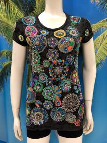 Flirt Exclusive Circles Flowers Beaded T-Shirt Black