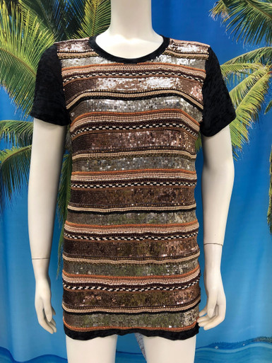 Flirt Exclusive Bronze and Copper Sequenced T-Shirt Black