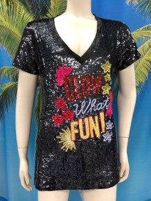 Flirt Exclusive Glow Sequenced V-Neck T-Shirt Black