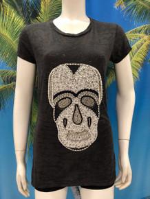 Flirt Exclusive Pearl Skull Sequenced T-Shirt Black