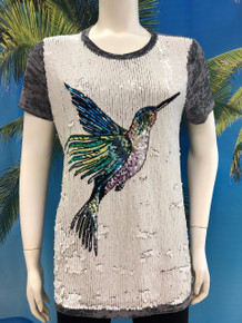 Flirt Exclusive Hummingbird Sequenced T-Shirt Grey