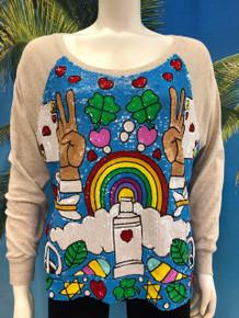 Flirt Exclusive Rainbow Sequenced Sweatshirt Oatmeal