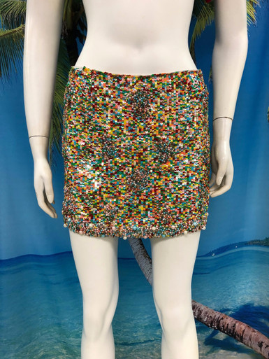 Flirt Exclusive Fully Sequenced and Beaded Mini Skirt Multi