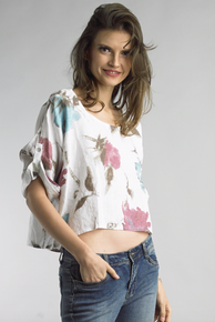 Tempo Paris Linen Print Top 7552M White
