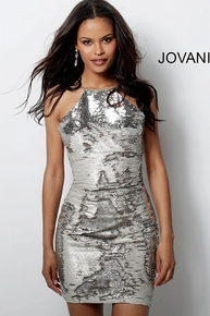 Jovani Reversible Sequence Mermaid Mini Dress 65309A Silver Pearl