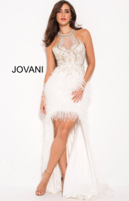 Jovani Feather High Low Dress 58331 Ivory