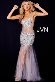 Jovani Beaded Maxi Dress JVN24736 Silver