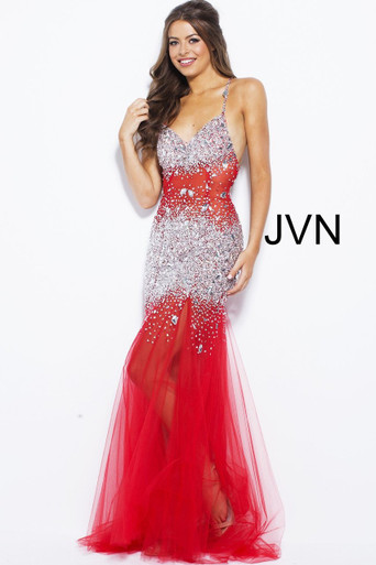 Jovani Beaded Maxi Dress JVN24736 Red
