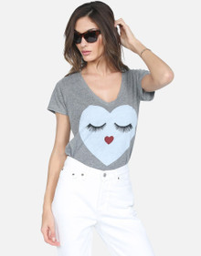 Lauren Moshi Emmalyn Glam Heart Face Heather Gray