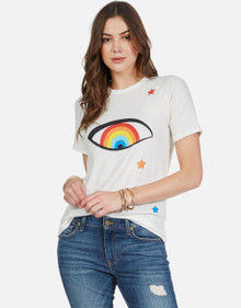 Lauren Moshi Short Sleeve Crew neck Suki Starry Rainbow Eye