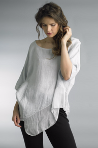 Tempo Paris Linen Silk Edge Top 7043CC Light Gray